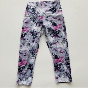 Lululemon moody mirage fold-down gray/pink crop 6